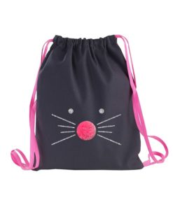 Sac à dos Anthracite Chat Paillette Argent Rose Fluo
