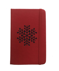 Carnet Rouge Flocon Paillettes Noires