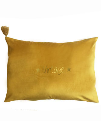 Coussin Velour Moutarde