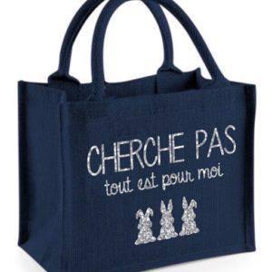 Mini Cabas Toile de Jute Marine Cherche Pas...