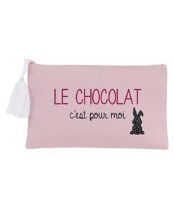 Pochette Zippée Rose Le Chocolat c'est pour moi