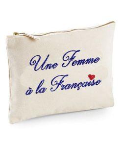 Pochette Zippée Écrue Une femme à la Française Paillettes Bleues