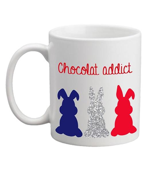 MUG Chocolat Addict Rouge Trois Lapins BBR